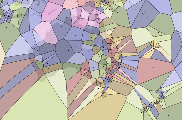 A map centred on Australia and New Zealand with points at airports generating a Voronoi diagram