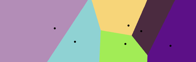 Points at random locations generating a colourful Voronoi diagram